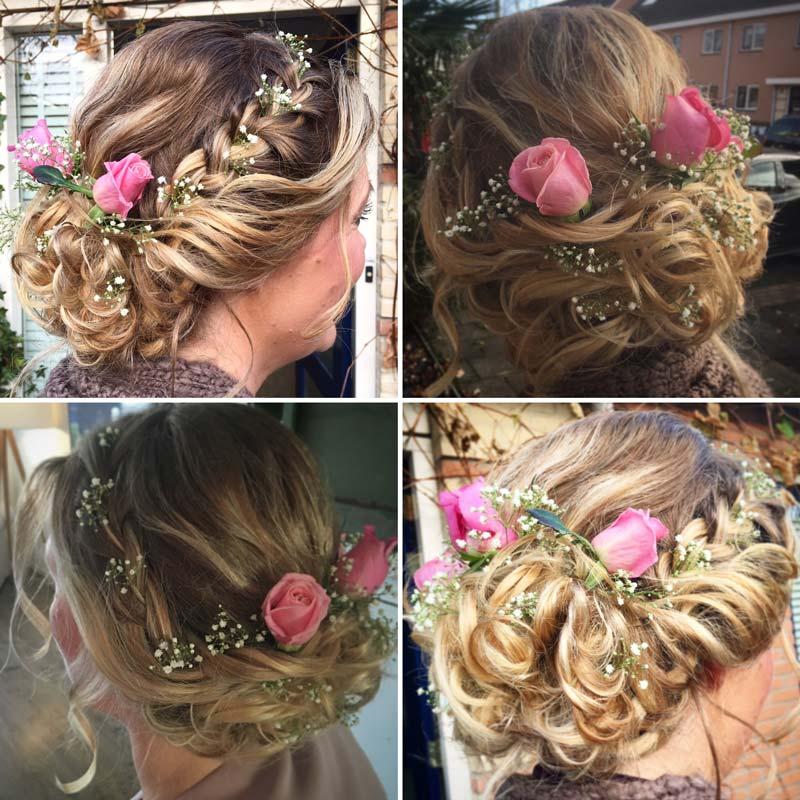 Bruidskapsel met bloemen | Door Joyce van Dam Hair & Make-up artist